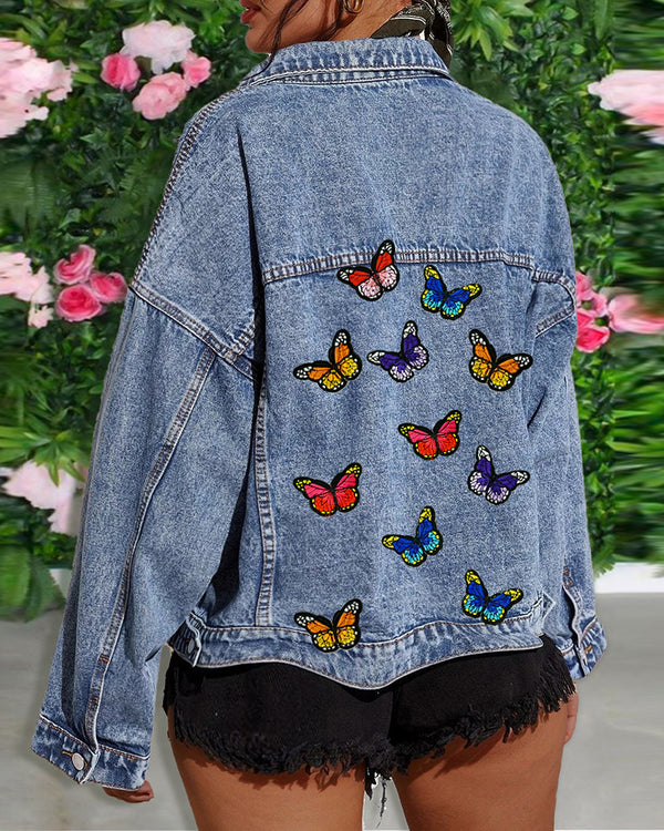 Butterfly Embroidery Button Design Pockets Denim Coat