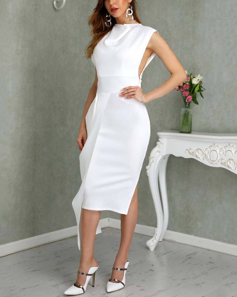 Sleeveless Side Zipper Slit Irregular Dress