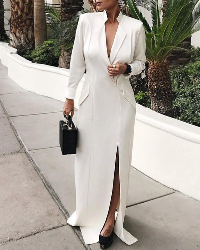Solid Long Sleeve Slit Work Dress