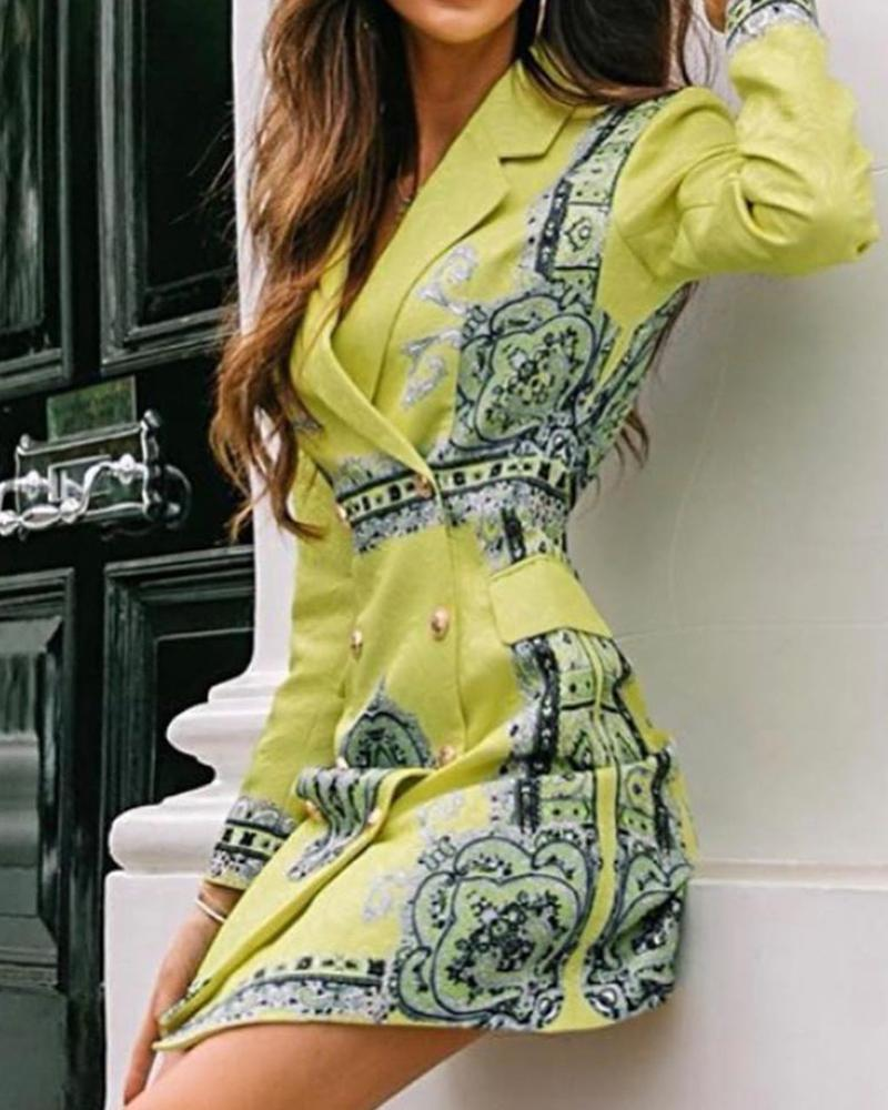 Long Sleeve Lapel Wrap Dress