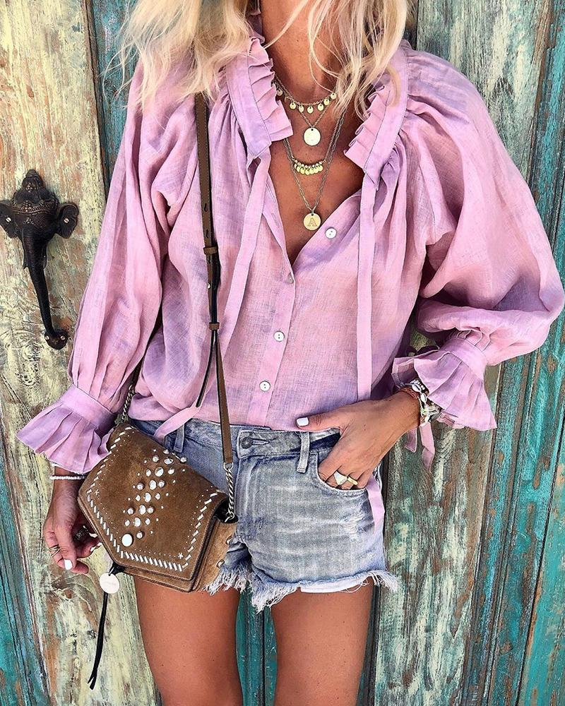Bell Sleeve Casual Ruffle Top