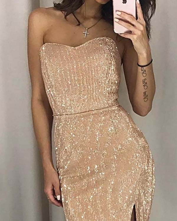 Shiny Strapless Slit Party Dress