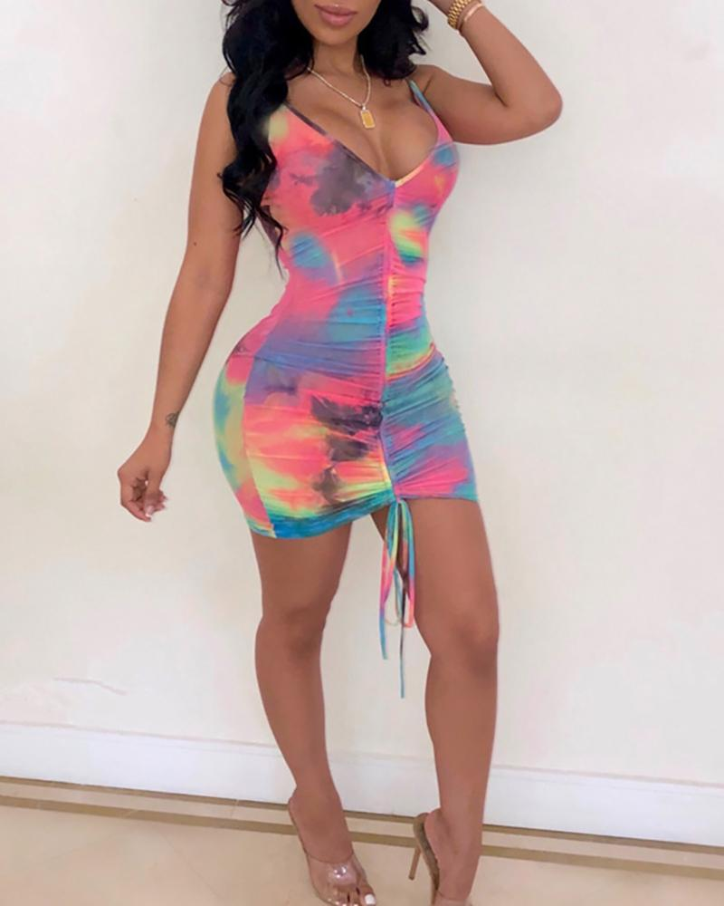 Tie Dye Ruffled Drawstring Design Mini Dress
