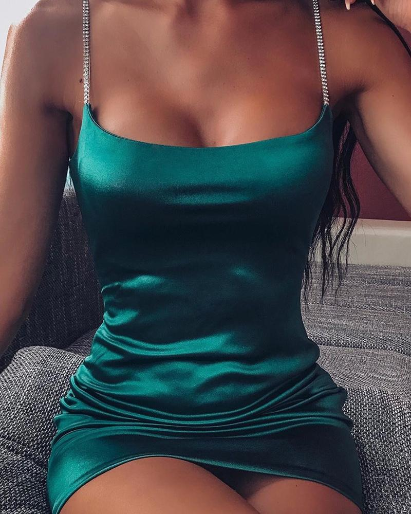 Satin Spaghetti Strap Bodycon Dress