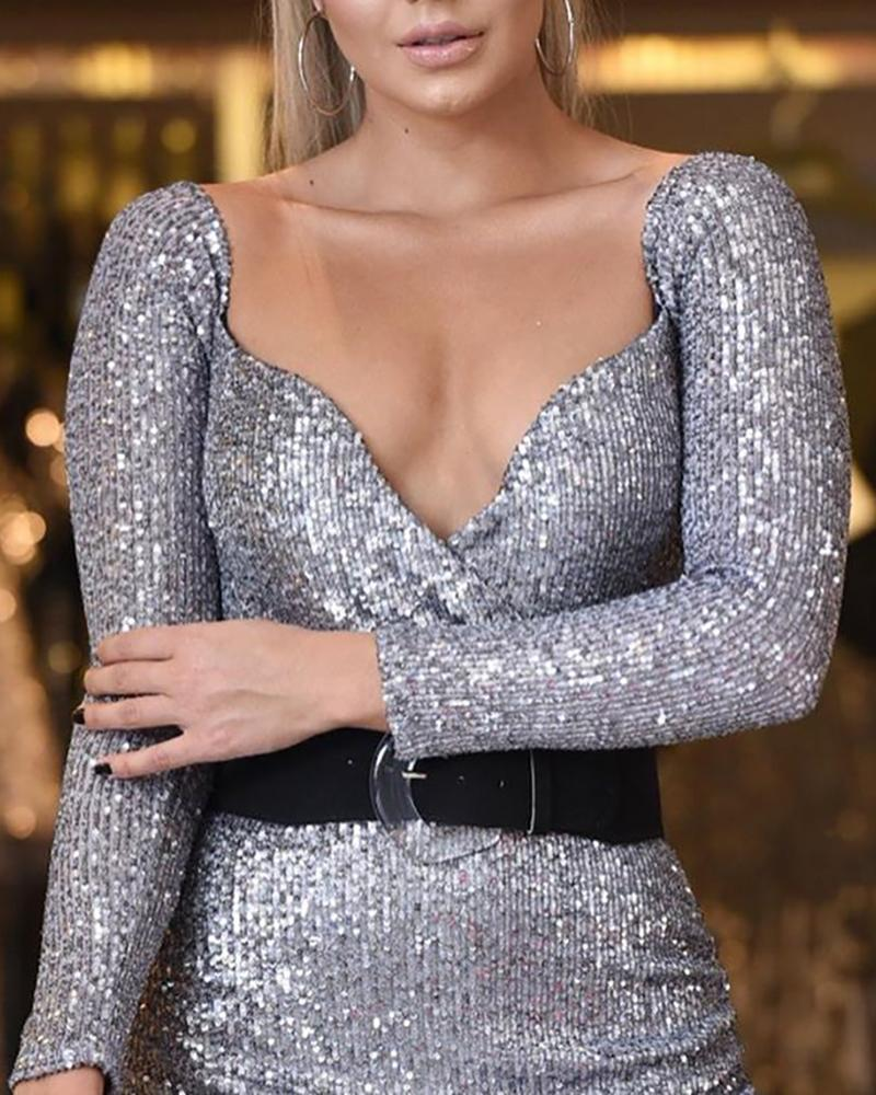 Glitter Long Sleeve Bodycon Dress