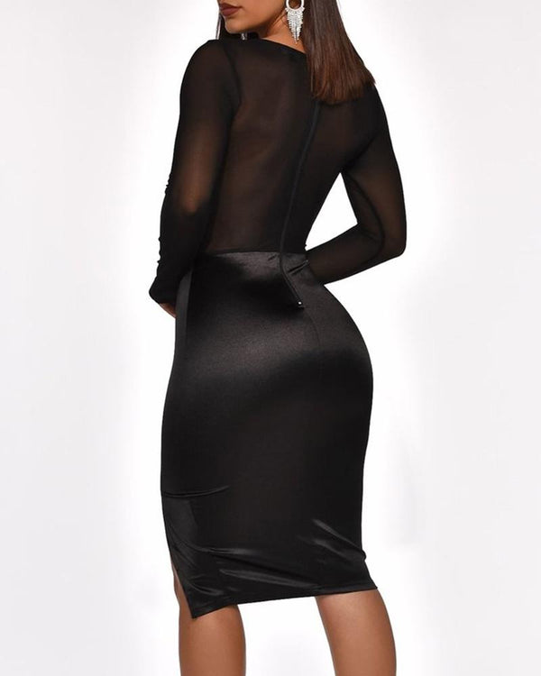 Square Neck Bodycon Lace Dress