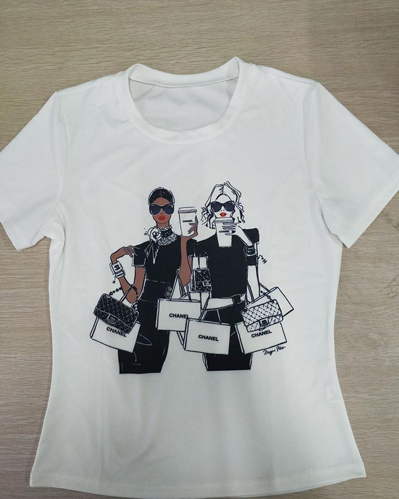 Figure Print Short Sleeve Casual T-Shirt