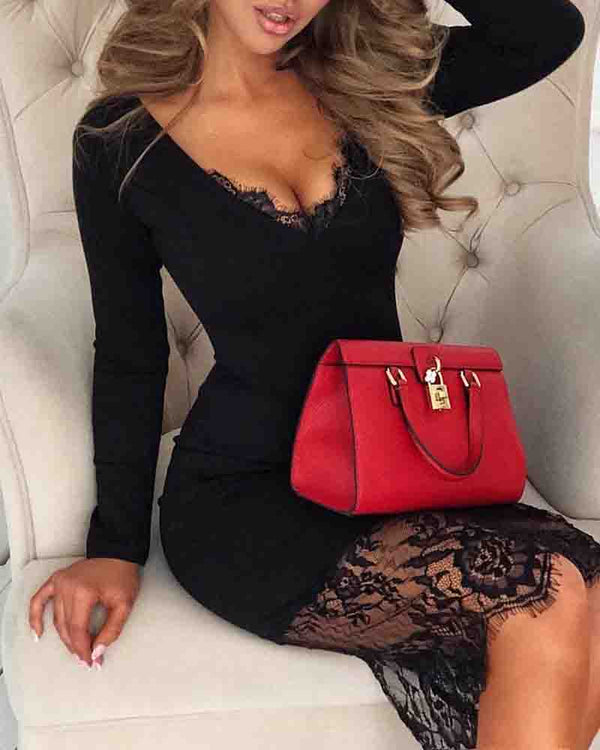 Eyelash Lace Insert V-Neck Bodycon Dress