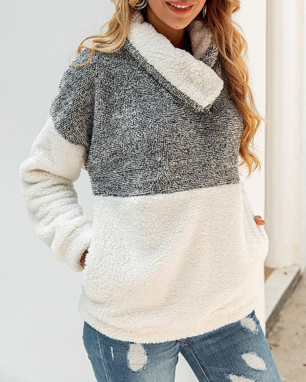 Fluffy Colorblock Long Sleeve Sweatshirt