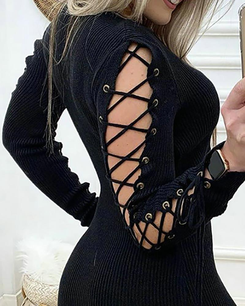 Solid Lace-Up Long Sleeve Dress