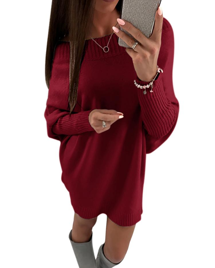 Stylish Long Sleeve Solid Sweater Dress