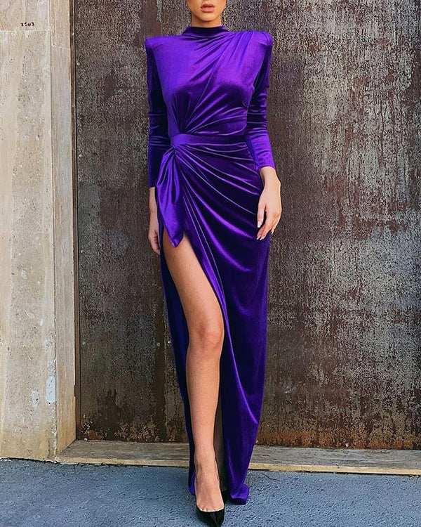 Solid Mock Neck Long Sleeve High Slit Ruched Dress