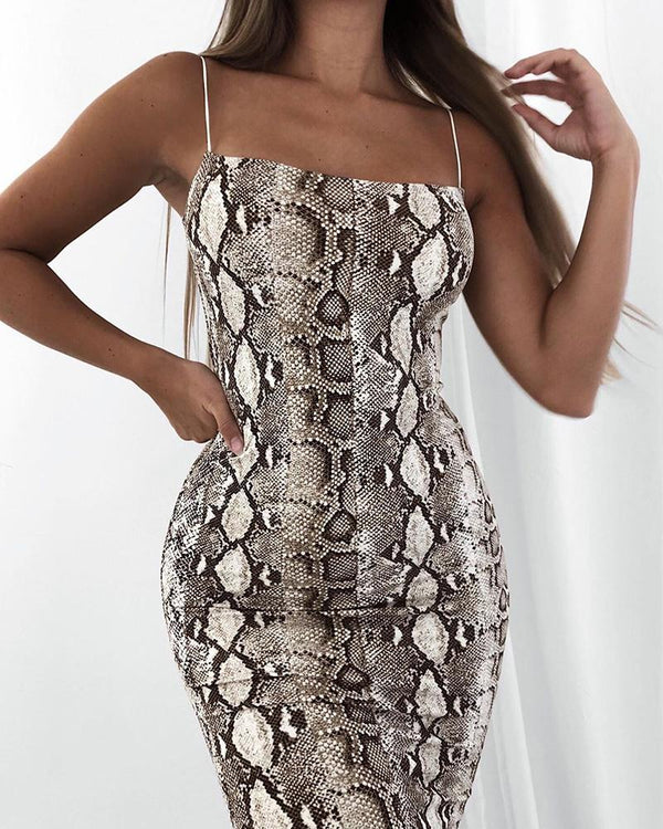 Snakeskin Print Bodycon Slip Dress