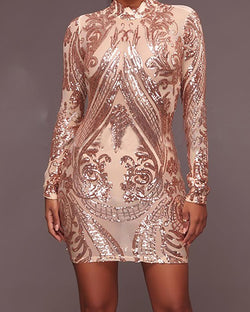 Long Sleeve Bodycon Mini Sequin Dress