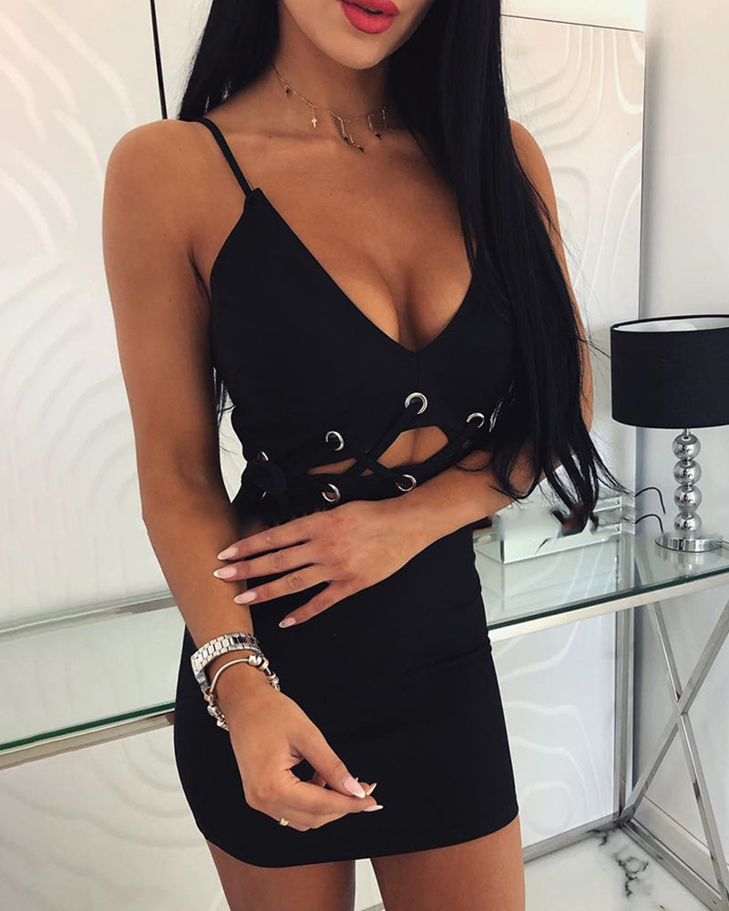 Spaghetti Strap Eyelet Lace-Up Bodycon Dress