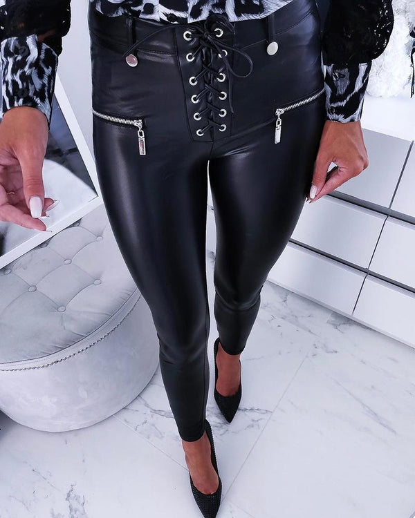 Solid PU Lace-Up Zipped Design Pants