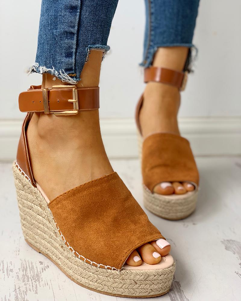 Ankle Buckled Espadrille Wedge Sandals