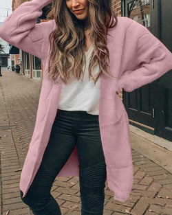 Open Front Knit Casual Cardigan