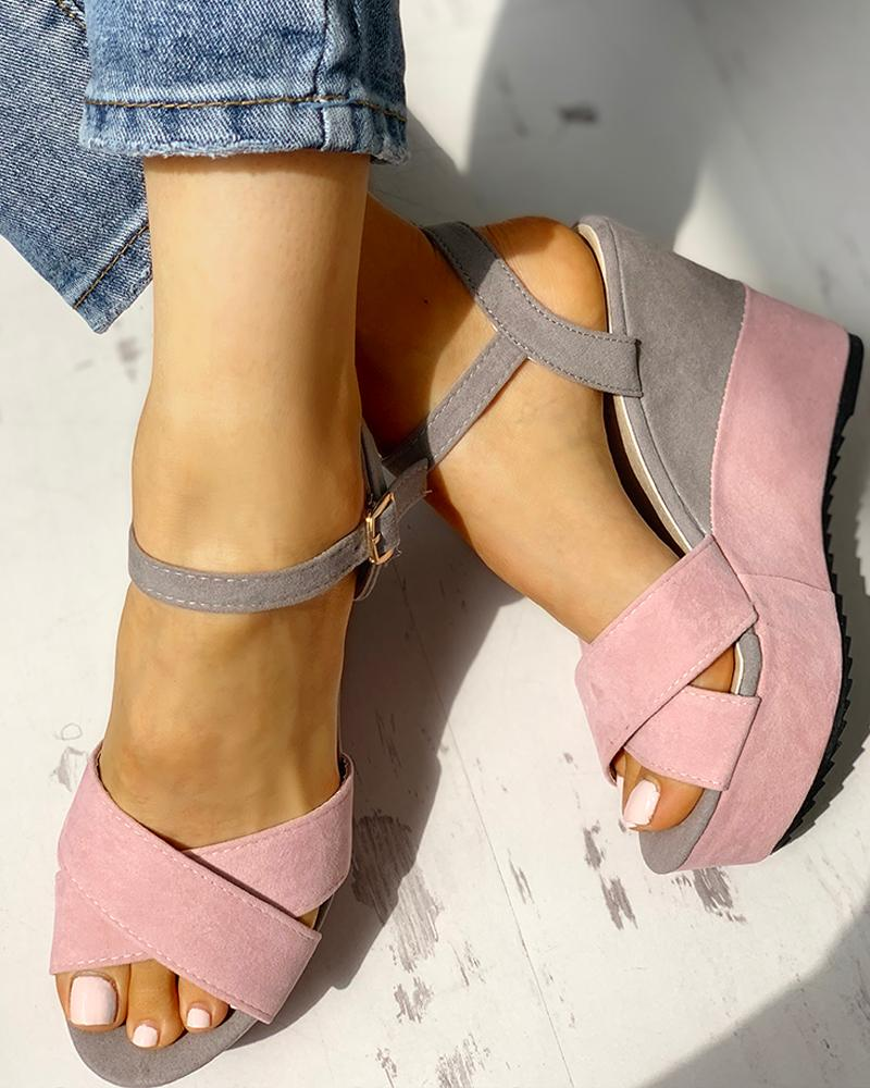 Colorblock Platform Wedge Sandals