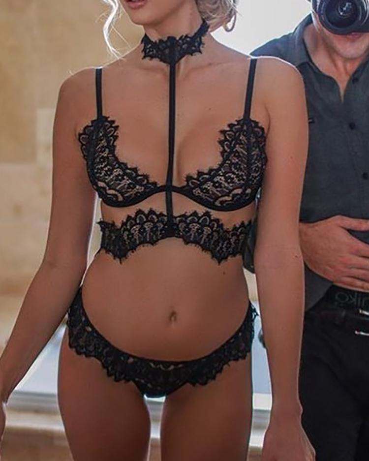 Eyelash Lace Hollow Out Lingerie Suit Set
