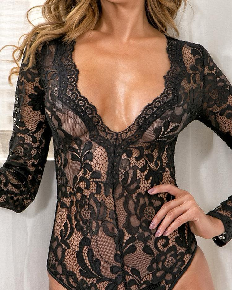 Sheer Lace Hollow Out Teddy Bodysuit