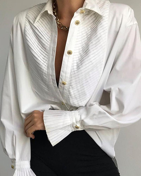 Pleated Detail Long Sleeve Blouse