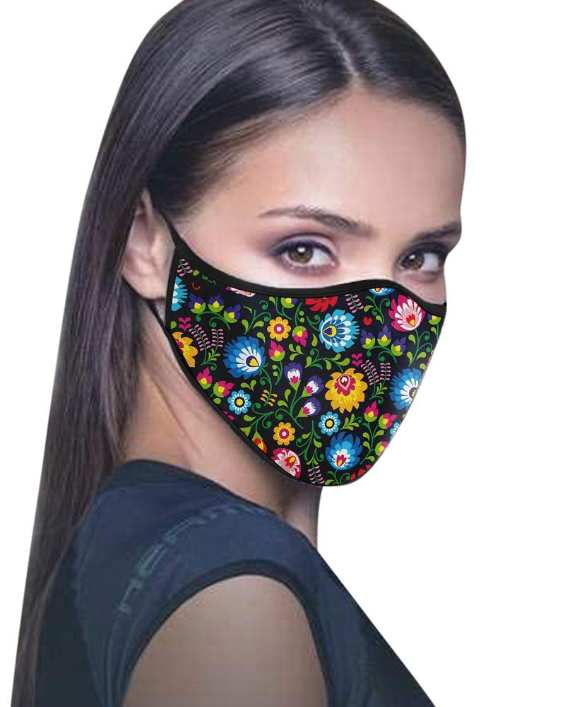 Floral / Leaf / Bird Print Colorblock Breathable Face Mask
