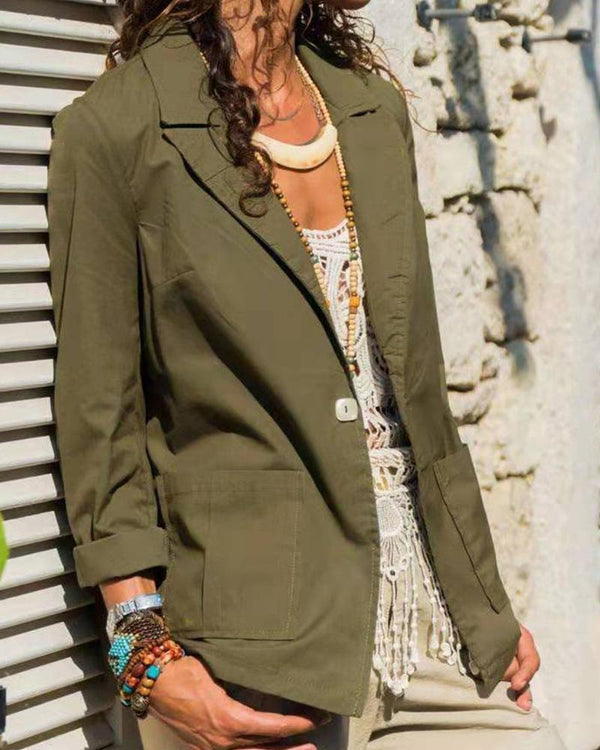 Solid Open Front Casual Blazer
