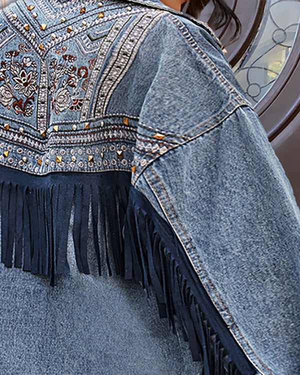 Floral Pattern Rivet Tassel Design Denim Coat