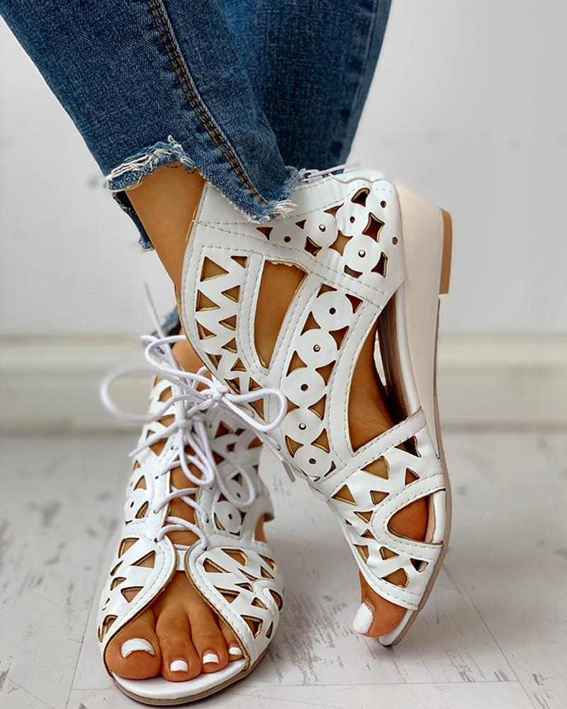 Hollow Out Lace-up PU Wedge Sandals