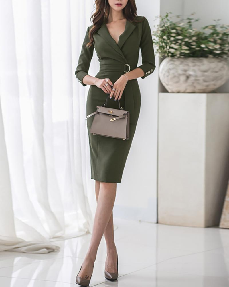 Solid Tight Waist Slit Back Bodycon Dress