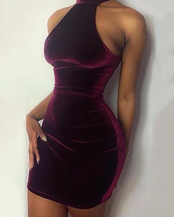 Sexy Caged Velet Bodycon Dress