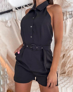 Halter Open Back Button Design Sleeveless Romper