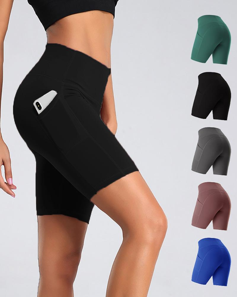 Pocket Design High-Rise Fitted Yoga Shorts