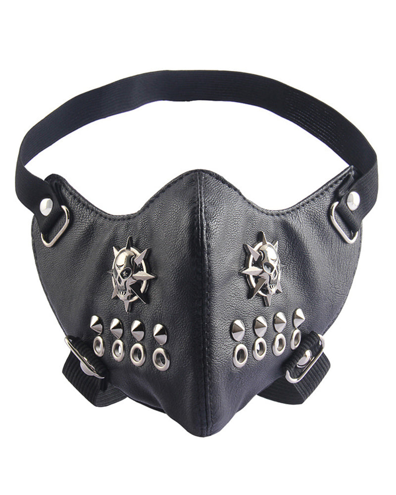 Breathable Spike Skull Punk Leather Motorcycle Biker Face Mask