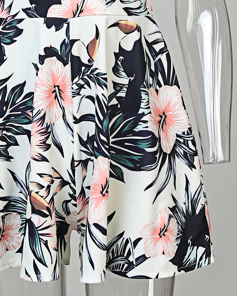 Tropical Print Knotted Deisgn Romper