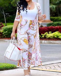 Floral Print Cardigan With High Waist Pants Set