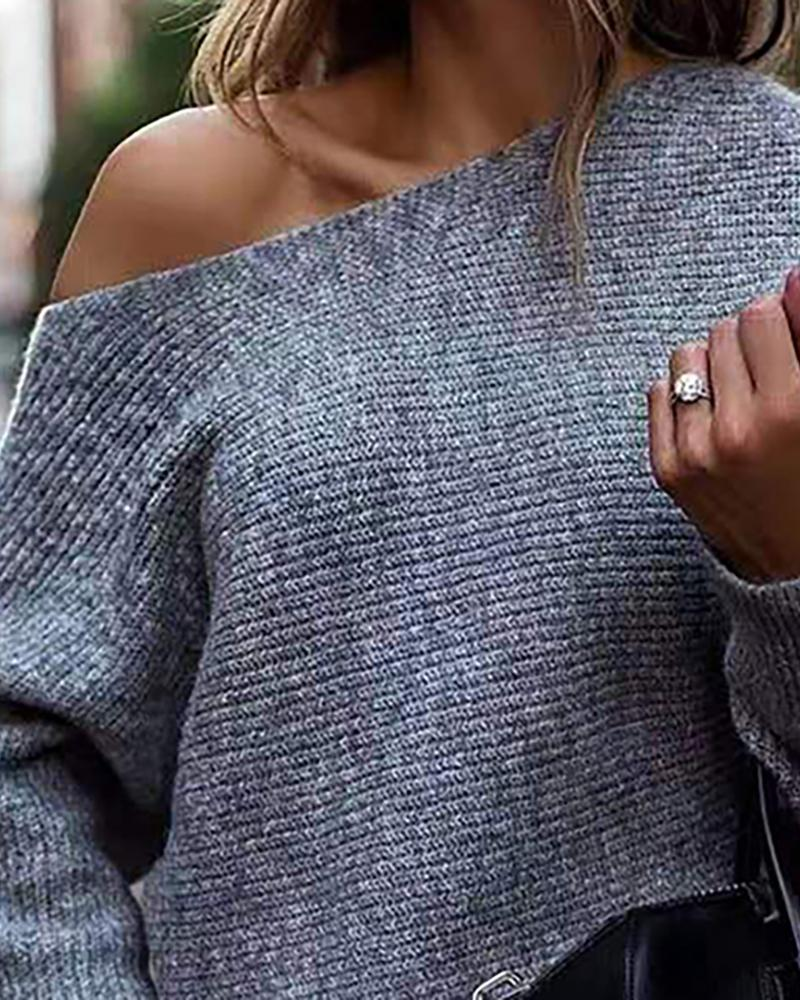 Skew Neck Long Sleeve Knitting Casual Sweater