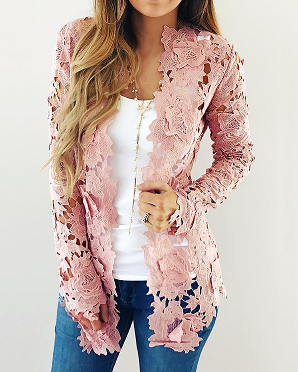 Floral Crochet Hollow Out Coat