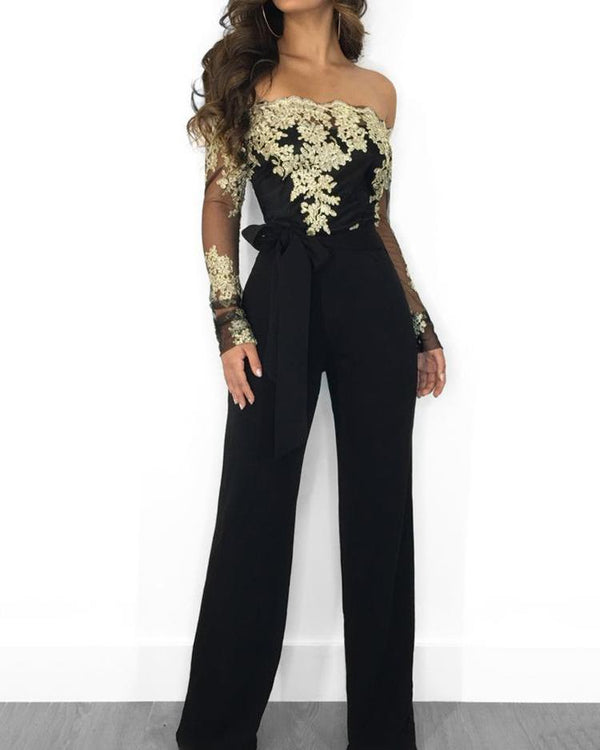 Flower Embroidery Off Shoulder Wide Leg Jumpsuit