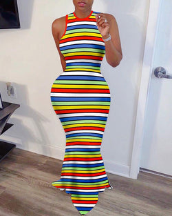 Striped Colorblock Sleeveless Ribbed Maxi Dress