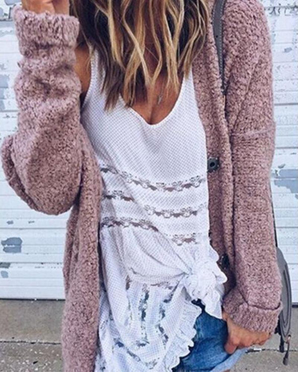 Solid Oversized Casual Knitted Cardigan