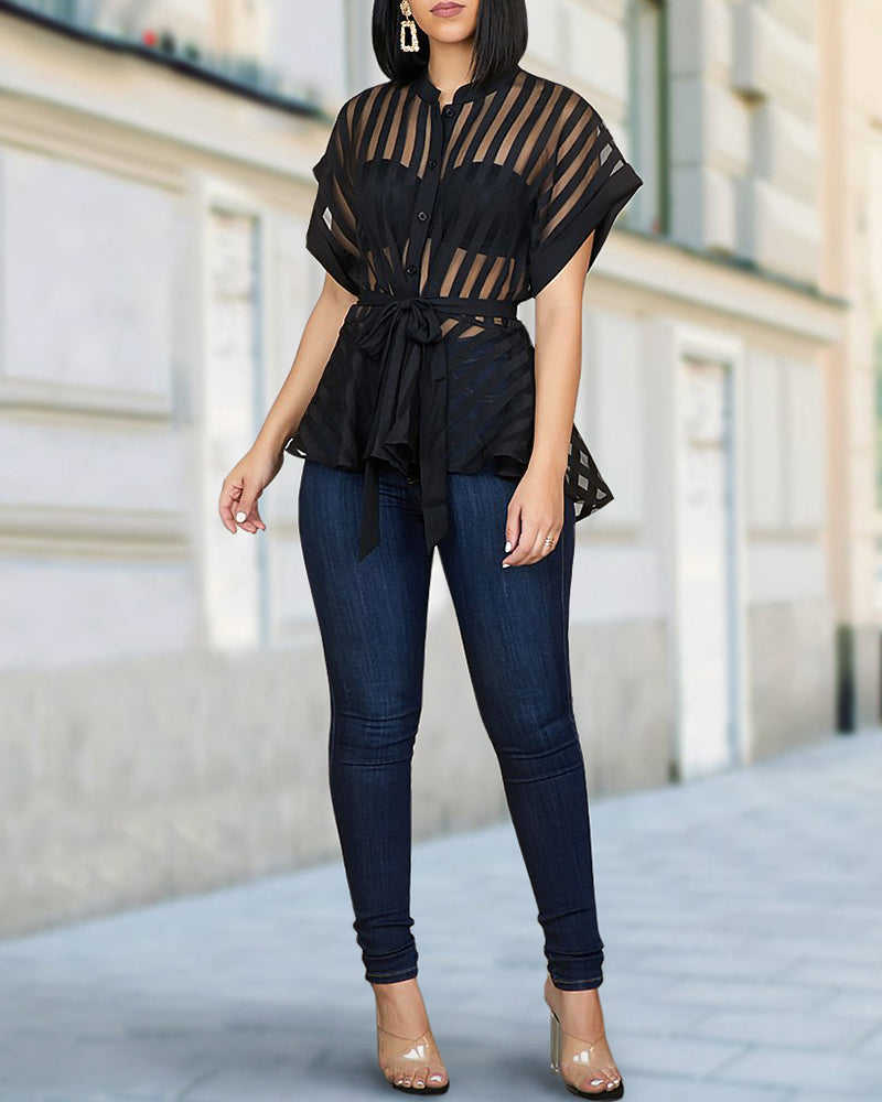 Striped See Through Buttoned Tied Waist Shirt