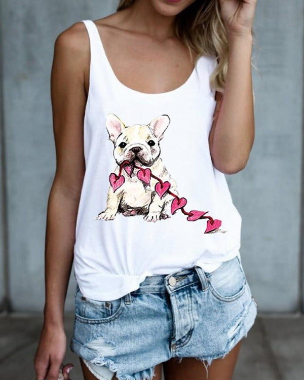 Summer Fashion Women Pet Dog Print Sleeveless Vest