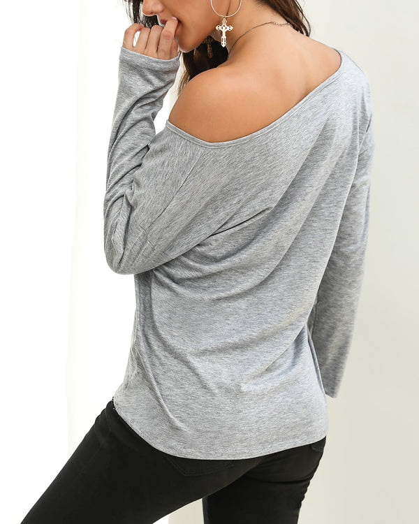 Long Sleeve Off Shoulder Loose T-shirt