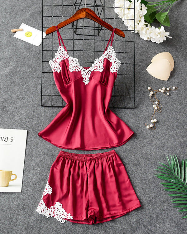 V-neck Crochet Lace Satin Cami Set
