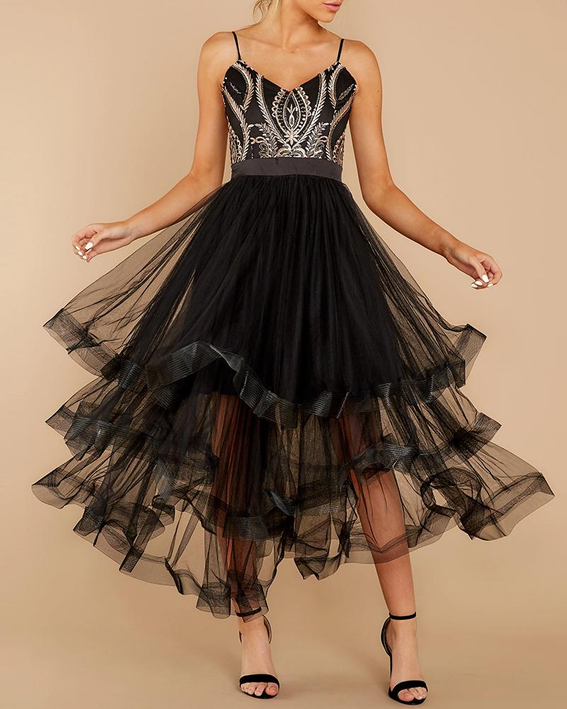 Patchwork Mesh See Through Backless Pleated Dress