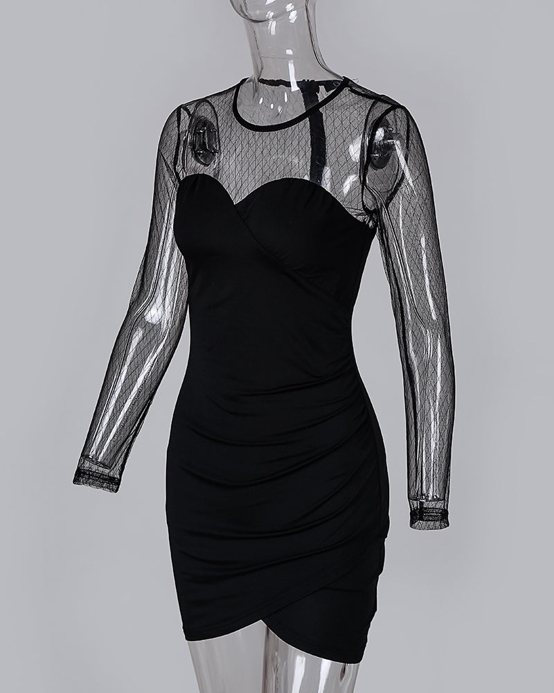 Beaded Mesh Insert Ruched Bodycon Dress