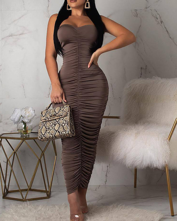 Tube Ruched Solid Midi Dress