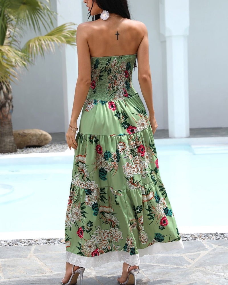 Bandeau Floral Print Lace Trim Buttoned Maxi Dress